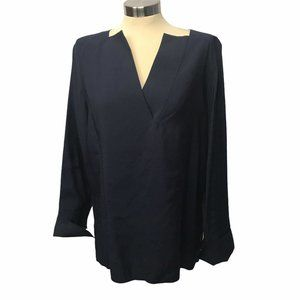COS Vneck Button Up Navy Top